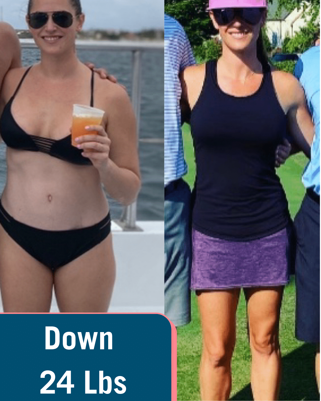 Woman in bathing suit and same woman in black shirt