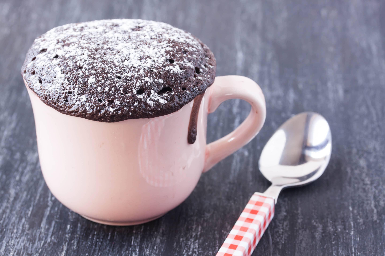 Cake in a pink mug