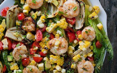 Shrimp Skewer and Vegetable Salad