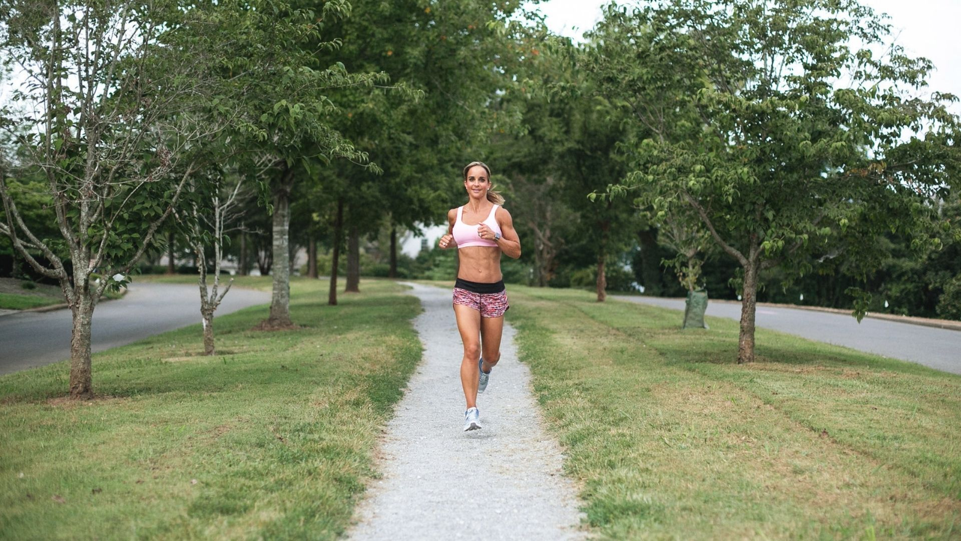Woman running on trail