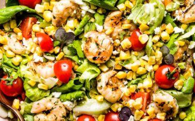 Grilled Shrimp and Pesto Corn Salad