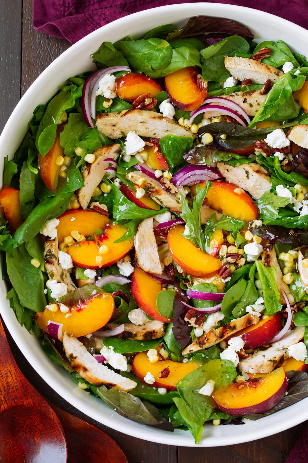 peach salad in bowl on table