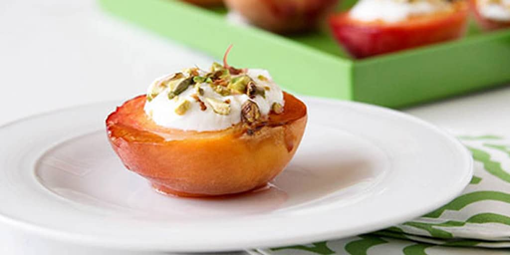 broiled peaches and yogurt
