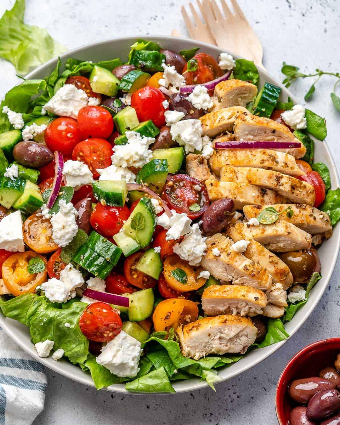 greek chicken salad in bowl