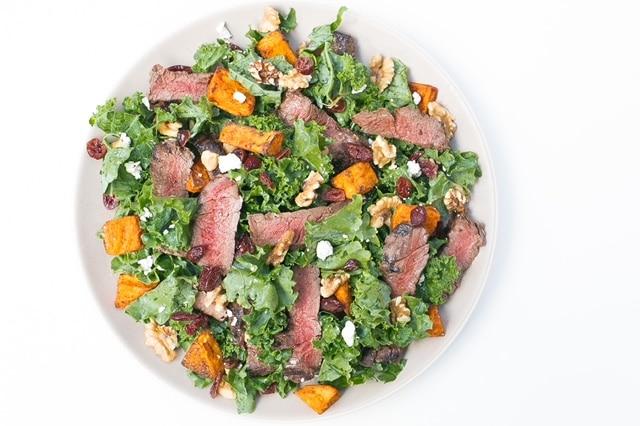steak and sweet potato salad